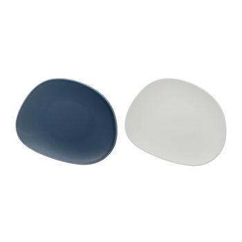 like. by Villeroy & Boch Organic ontbijtbord, 2 stuks, turquoise/wit