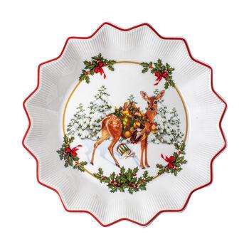 Toy's Fantasy kleine schaal reeveulen met cadeaus, gekleurd/rood/wit, 16,5 x 16,5 x 3 cm