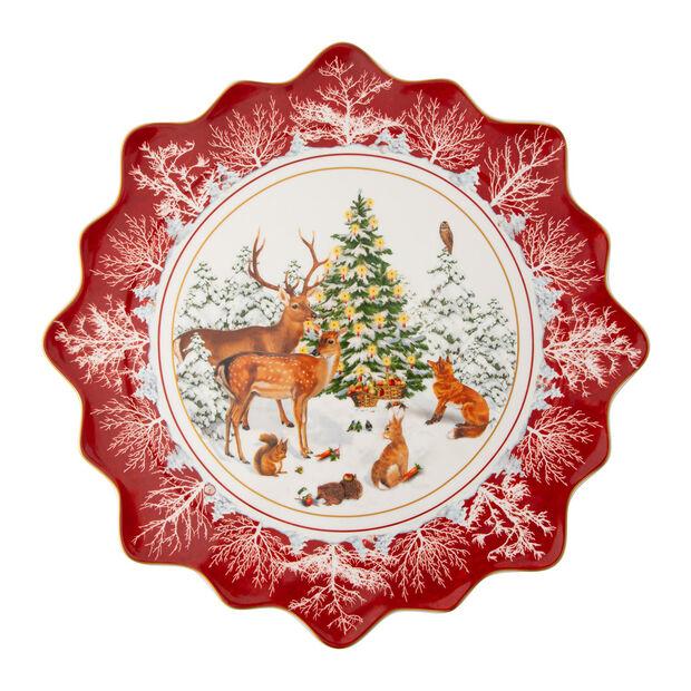 Toy's Fantasy groot gebaksbordje bosdieren, gekleurd/rood/wit, 42 x 42 x 2 cm, , large