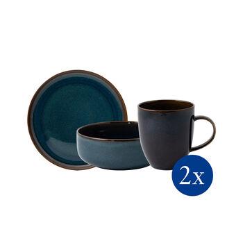 Crafted Denim ontbijtset, blauw, 6-delig