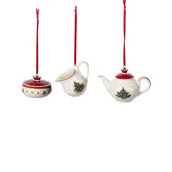 Toy's Delight Decoration ornament koffie-set, wit/rood, 3-delig, 6,3 cm
