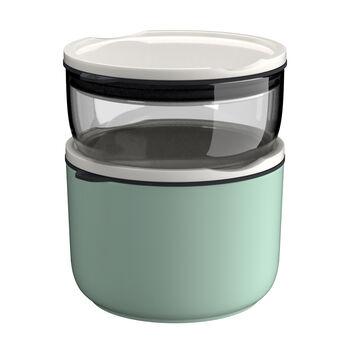 ToGo&ToStay lunchbox-set, 2-delig, glas, grijs/mintgroen