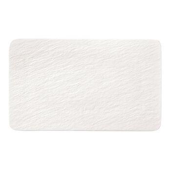 Manufacture Rock Blanc rechthoekige serveerschaal/gourmetbord, wit, 28 x 17 x 1 cm