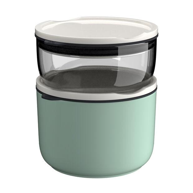 ToGo&ToStay lunchbox-set, 2-delig, glas, grijs/mintgroen, , large