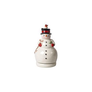 Nostalgic Melody sneeuwpop draaiend, wit, 9 x 9 x 17 cm