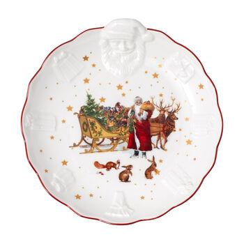 Toy's Fantasy schaal met Kerstman-reliëf nostalgie, gekleurd/rood/wit, 24 x 25 x 4,6 cm