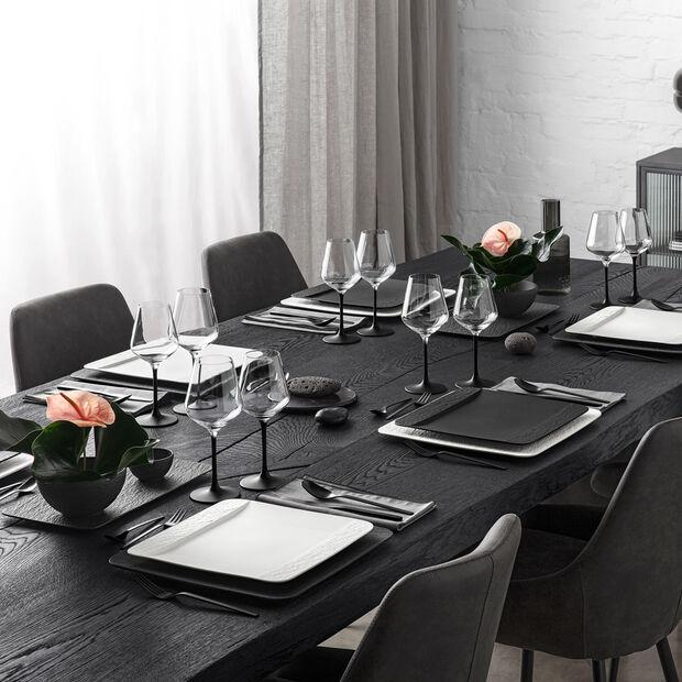 Manufacture Rock vierkante serveerschaal/gourmetbord, zwart/grijs, 32,5 x 32,5 x 1,5 cm, , large