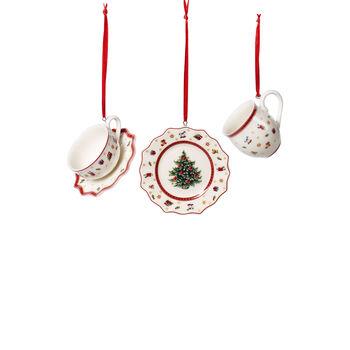 Toy's Delight Decoration ornament servies-set, wit/rood, 3-delig, 6,3 cm