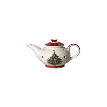 Toy's Delight Decoration theelichthouder koffiepot, wit/rood, 16 x 9,5 x 9 cm