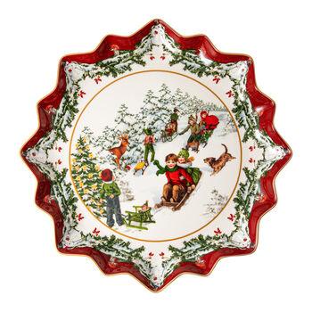 Toy's Fantasy diep gebaksbordje slederit, gekleurd/rood/wit, 39 x 39 x 3,5 cm