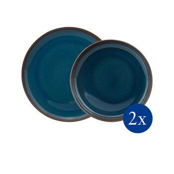 Crafted Denim tafelset, blauw, 4-delig