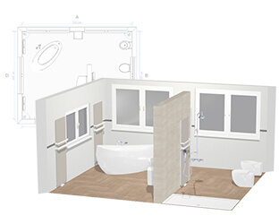 3d badkamerplanner uw eigen droombadkamer online for Planner bagno 3d